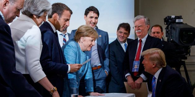 Prime Minister Justin Trudeau, British Prime Minister Theresa May, French President Emmanuel Macron,...