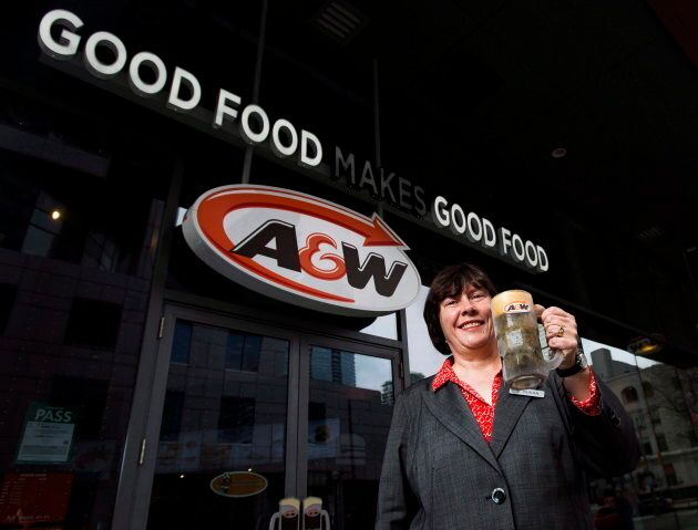 A&W CEO Susan Senecal poses for a photo outside one of the company's many Canadian locations in Toronto on Feb. 8, 2017.
