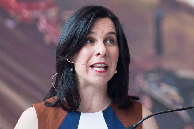 Montreal Mayor Valerie Plante speaks during a news conference in Montreal on April 26, 2018, where she...