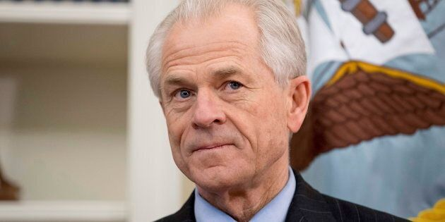 National Trade Council adviser Peter Navarro appears before President Donald Trump arrives to sign executive...