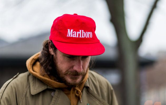 A cap sporting the logo of tobacco company