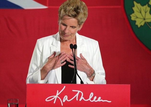 Outgoing Premier Kathleen Wynne delivers her concession speech to supporters after the final votes are...