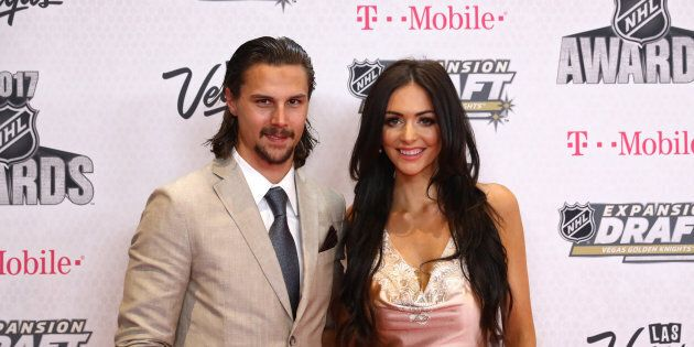 Erik Karlsson of the Ottawa Senators and wife Melinda attend the 2017 NHL Awards at T-Mobile Arena on...