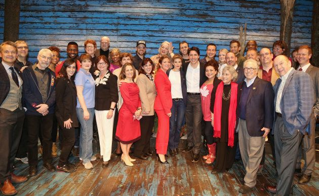 Prime Minister Justin Trudeau and wife Sophie Gregoire Trudeau pose backstage with the cast and crew...