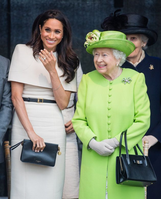 The Duchess of Sussex and Queen Elizabeth II on their first official engagement together on June