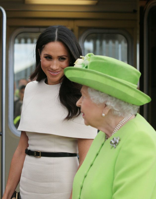 Queen Elizabeth II and the Duchess of Sussex arrive by royal train at Runcorn