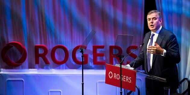 Rogers Communications CEO Joe Natale speaks to shareholders during the Rogers annual general meeting...