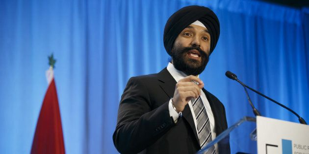 Navdeep Bains, minister of innovation, science and economic development, speaks during the Public Policy...