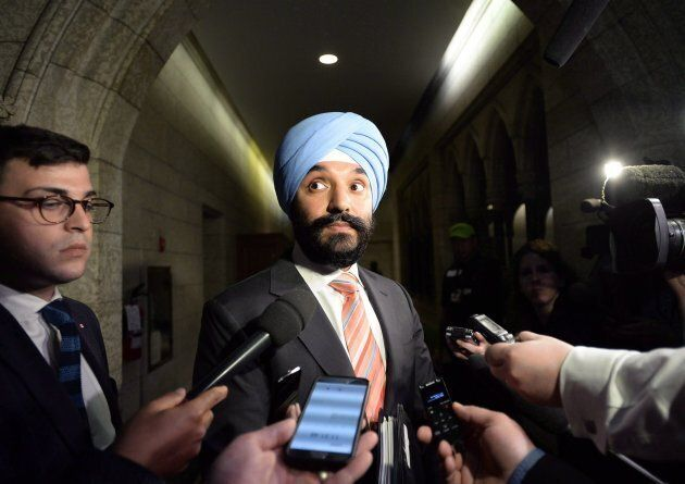 Minister of Innovation, Science and Economic Development Navdeep Bains speaks to reporters on Parliament...