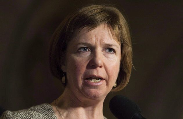 NDP MP Sheila Malcolmson speaks with the media in Ottawa on Nov. 30, 2017.