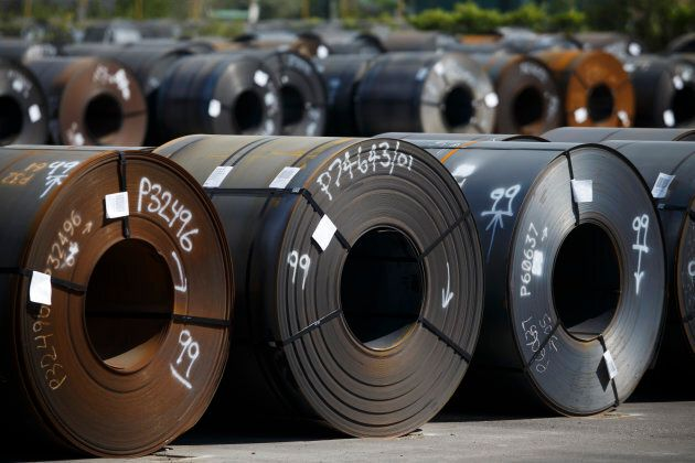Steel coils lay in a yard at ArcelorMittal Dofasco steel plant on June 4, 2018 in Hamilton,