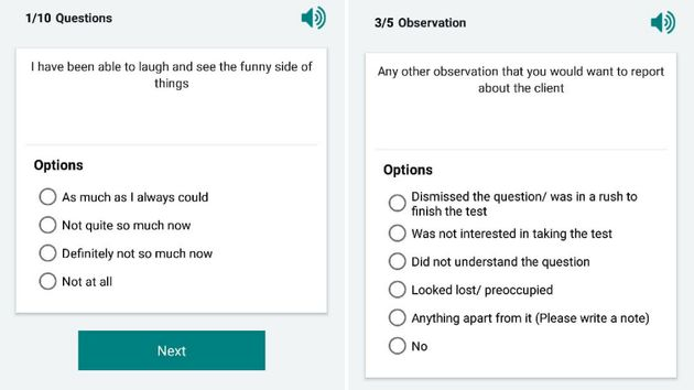 Sample questions from a smartphone app that community health workers are using to screen for postpartum...