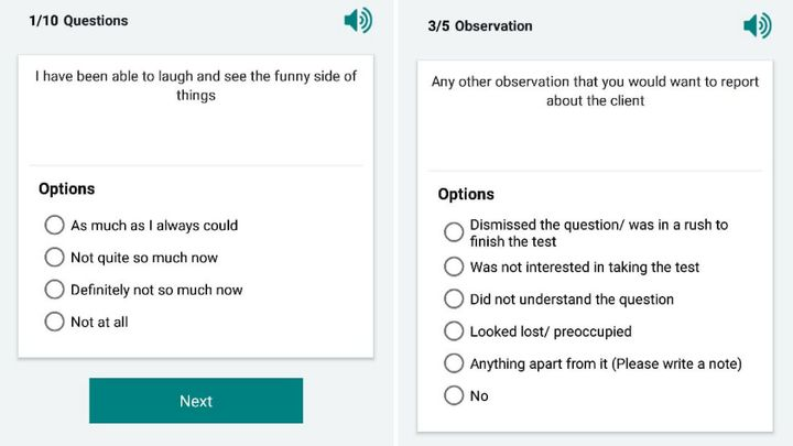 Sample questions from a smartphone app that community health workers are using to screen for postpartum depression in rural areas of India.