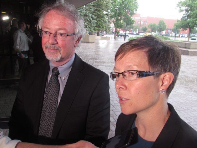 Alberta Crown prosecutors Bruce Ainscough and Erin Olsen speak to reporters on June 15, 2018 after a...