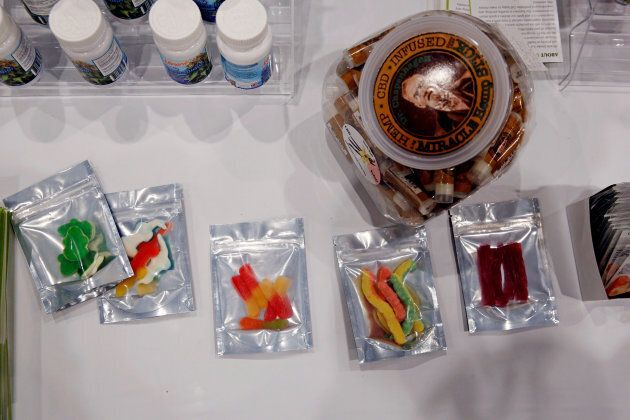 Samples of edible cannabis-based products are displayed during the Cannabis World Congress & Business...