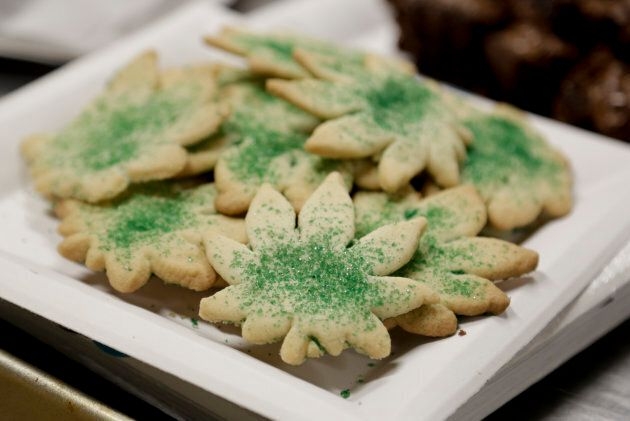 Cookies shaped like marijuana leafs are pictured at the Cannabis Carnivalus 4/20 event in Seattle, Washington...
