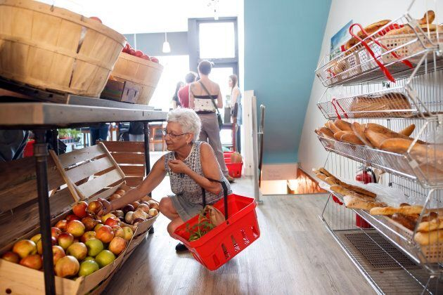Marlene Brown is seen shopping for produce at Feed it Forward's Pay-what-you-can grocery store in Toronto,...