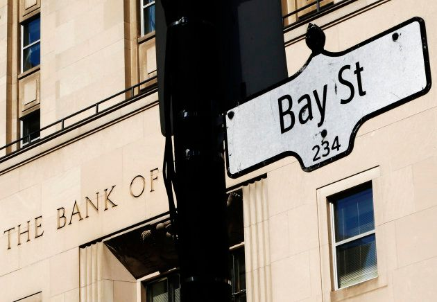 A Bay Street sign, a symbol of Canada's economic markets and where main financial institutions are located,...