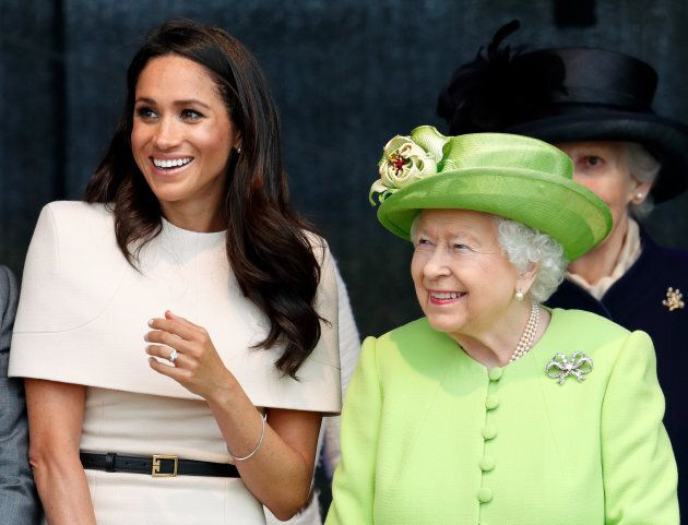 Meghan, Duchess of Sussex and Queen Elizabeth II attend a ceremony to open the new Mersey Gateway Bridge on June 14, in Widnes, England.