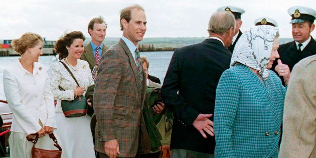 Queen Elizabeth II, Prince Edward, Sophie, Lord Ivar Mountbatten and his former wife, Penny, in