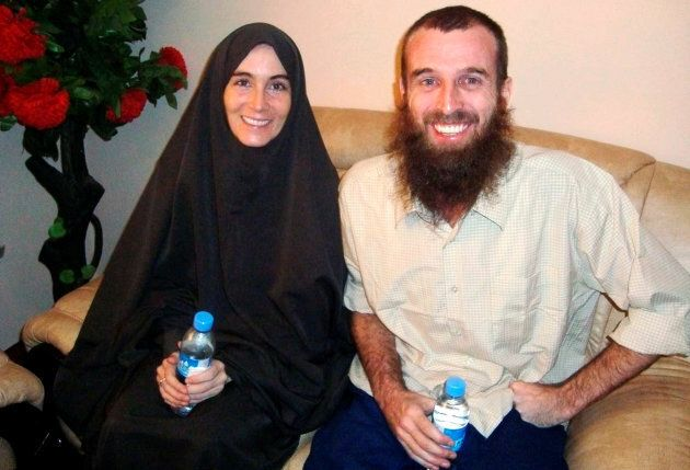 Freed hostages, Amanda Lindhout (L), a Canadian freelance reporter, and Nigel Brennan, a freelance Australian...