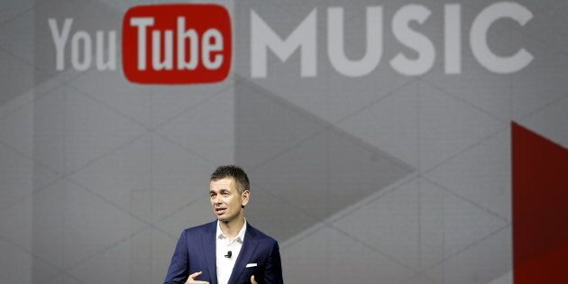 Robert Kyncl, chief business officer for YouTube, talks about YouTube Music during a keynote address...