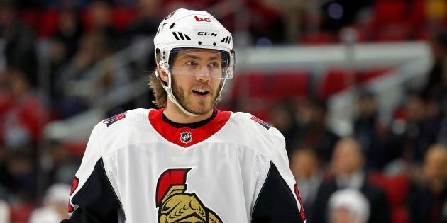 In this Jan. 30, 2018, file photo, Ottawa Senators' Mike Hoffman (68) waits for a face-off against the...