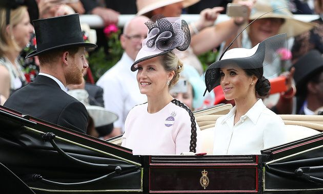 Meghan Markle arrives at the Royal Ascot with Prince Harry and Sophie, Countess of Wessex and Prince...