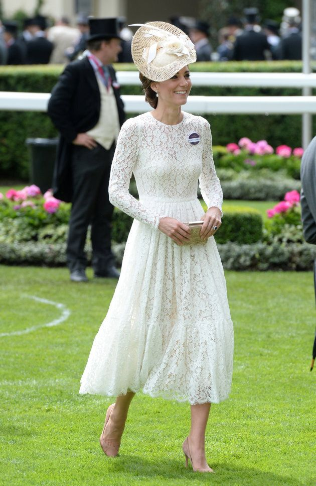 The Duchess of Cambridge on day two of the 2016 Royal Ascot wearing a lace dress by Dolce &