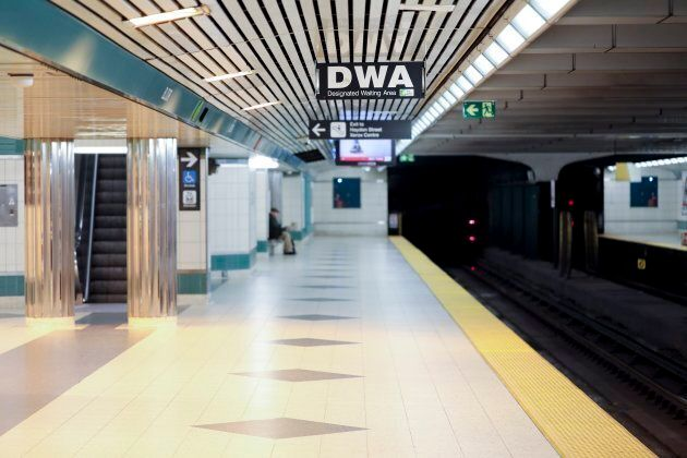 The Designated Waiting Area on the northbound platform at the Yonge-Bloor subway station in