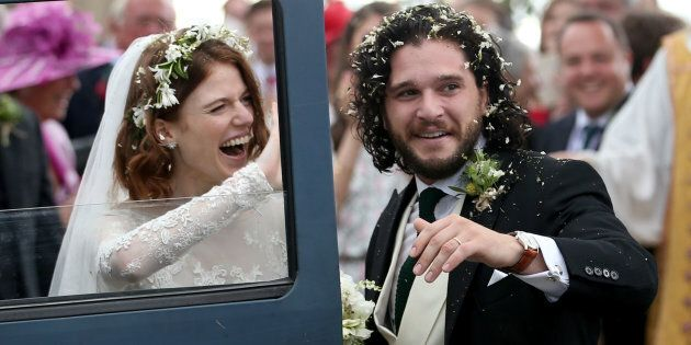 Kit Harington and Rose Leslie at Rayne Church, Kirkton of Rayne in Aberdeenshire, after their