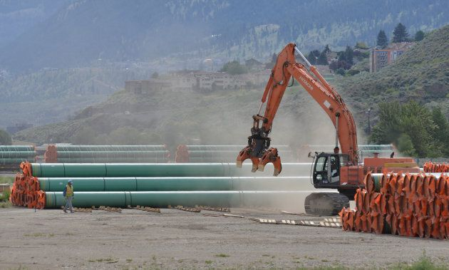 Steel pipe that will be used in the oil pipeline construction of Kinder Morgan Canada's Trans Mountain...
