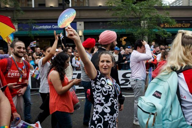 Foreign Affairs Minister Chrystia Freeland marches in the Toronto Pride Parade on June 24,