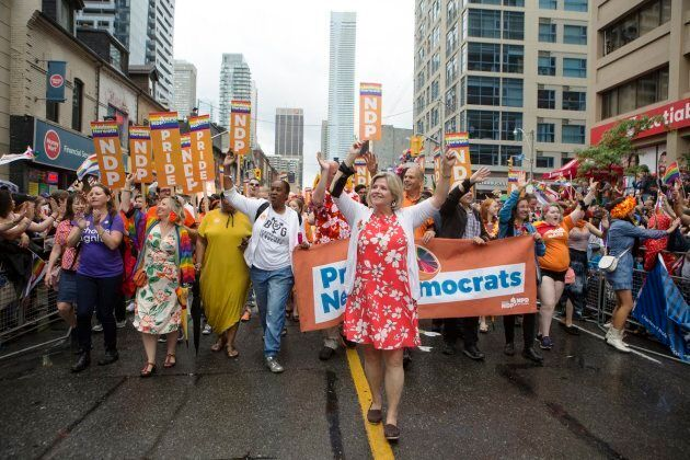 Ontario NDP Leader Andrea Horwath marches in the Toronto Pride parade on June 24,