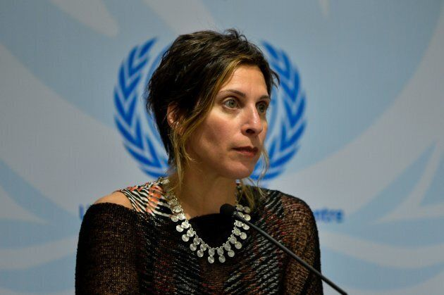 United Nations Special Rapporteur on the Right to Adequate Housing Leilani Farha attends a press conference...