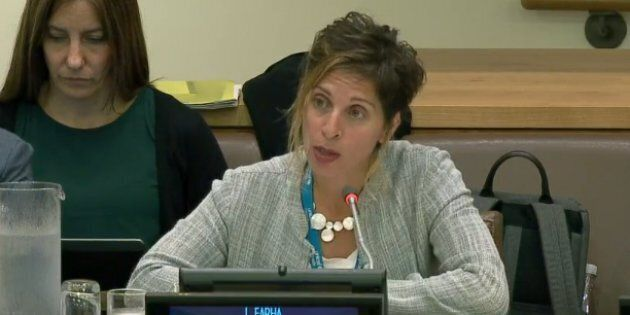 Leilani Farha, Special Rapporteur on adequate housing, speaks before a UN committee on Oct. 27,