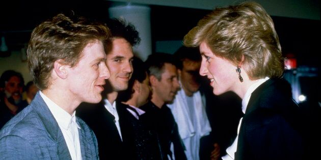 Princess Diana meeting musician Bryan Adams after a pop concert in Vancouver during her tour of Canada,...