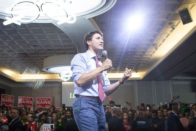 Prime Minister Justin Trudeau speaks onstage at a nomination event for Liberal MP Navdeep Bains in Mississauga,...