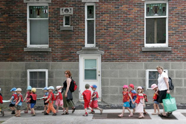 File photo of daycare students on field trip on rue de Brebeuf in Montreal.