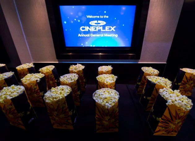 Bags of popcorn are shown during the Cineplex Entertainment company's annual general meeting in Toronto...