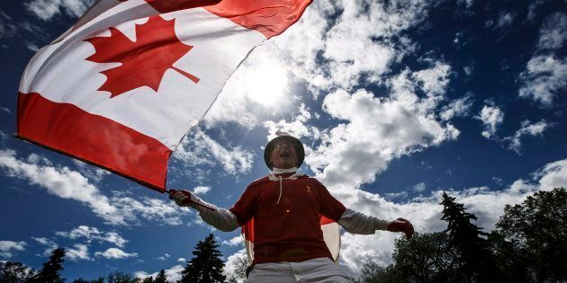 Henry Stephens celebrates Canada day in Edmonton Alta, on July 1,