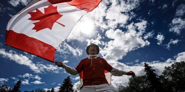 Henry Stephens celebrates Canada day in Edmonton Alta, on July 1, 2018.