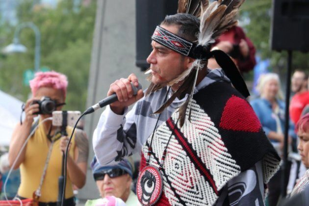 Tsleil-Waututh member William George speaks at the 'No Buyout, No Kinder Morgan' rally in downtown Vancouver on May 29, 2018.