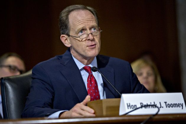 Senator Patrick Toomey, a Republican from Pennsylvania, speaks while introducing nominees during a Senate...