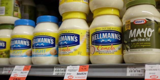 Jars of mayonnaise are seen in a store on Jan. 30, 2014 in Miami,