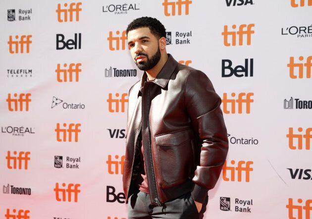 "Drake arrives on the red carpet for the film ""The Carter Effect"" at the Toronto International Film Festival, Sept. 9, 2017."