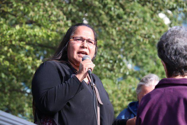 Chief Judy Wilson speaks at the 'No Buyout, No Kinder Morgan' rally May 29,