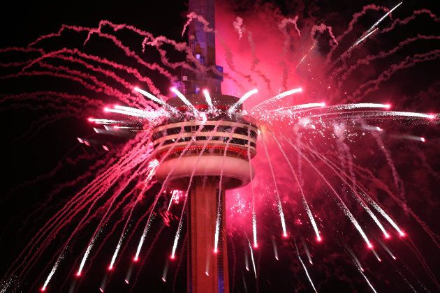 Canada celebrates its 150th birthday by launching fireworks off of the CN Tower in Toronto on July 1,