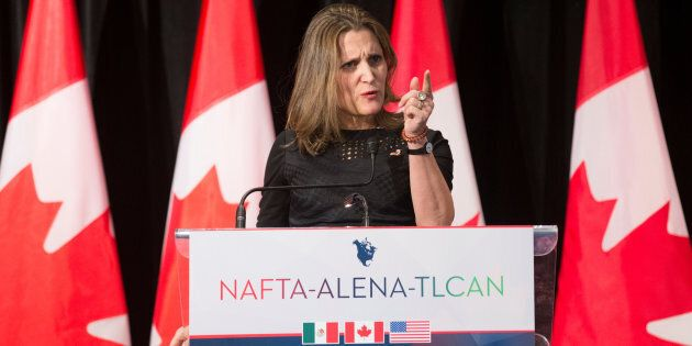 Foreign Affairs Minister Chrystia Freeland speaks to the media following NAFTA round six renegotiations in Montreal, Quebec on Jan. 9, 2018.