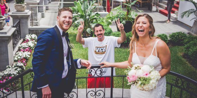 Actor Adam Sandler made a cameo in a Montreal couple's wedding photoshoot on Sunday. Sana Belgot from...